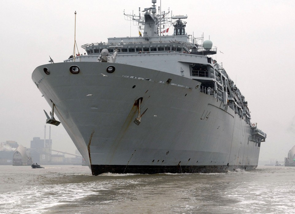 The HMS Albion is seen sailing into a port in Vietnam's Ho Chi Minh City earlier this week. Photo: British Royal Navy