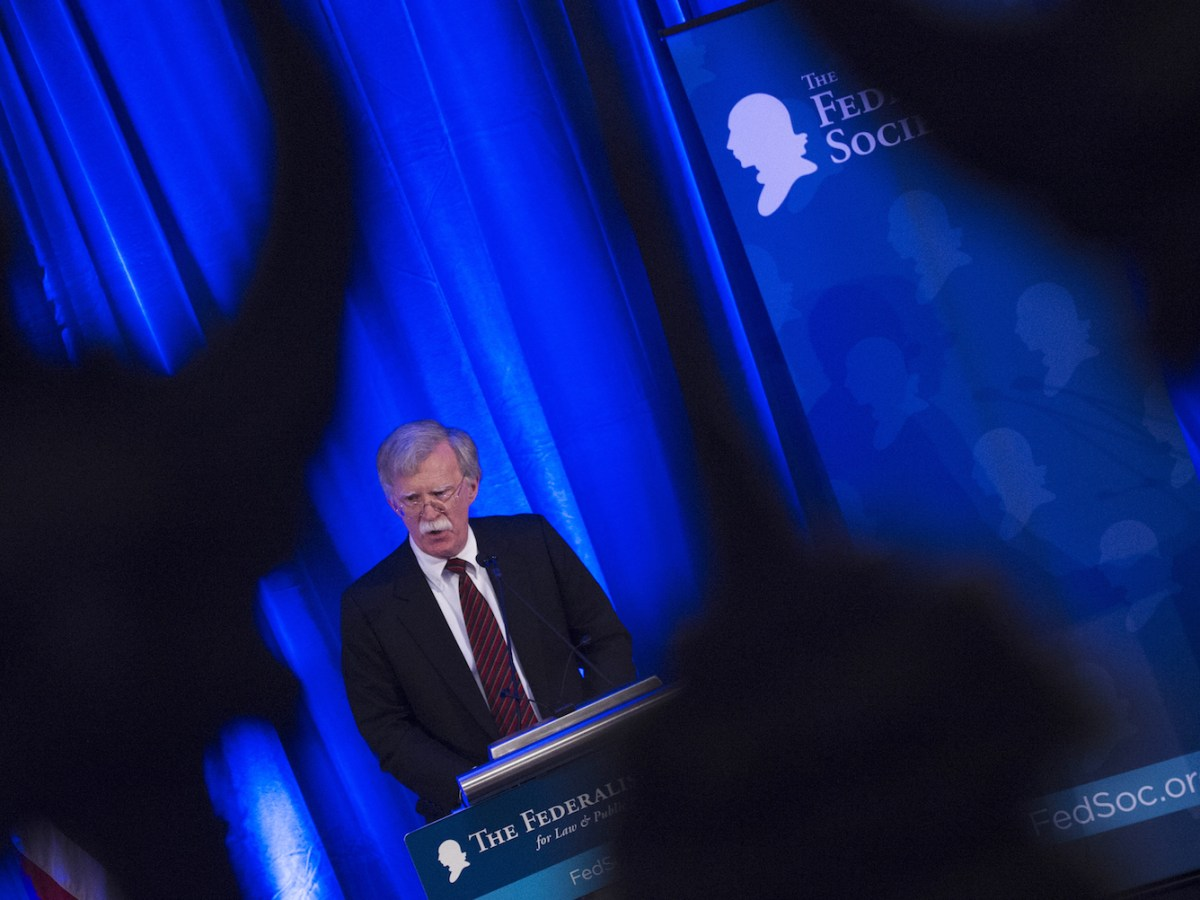 US National Security Adviser John Bolton speaks in Washington on Sept 10. The US threatened to sanction ICC judges and officials if there are moves to charge Americans who served in Afghanistan with war crimes. Photo: AFP / Andrew Caballero-Reynolds