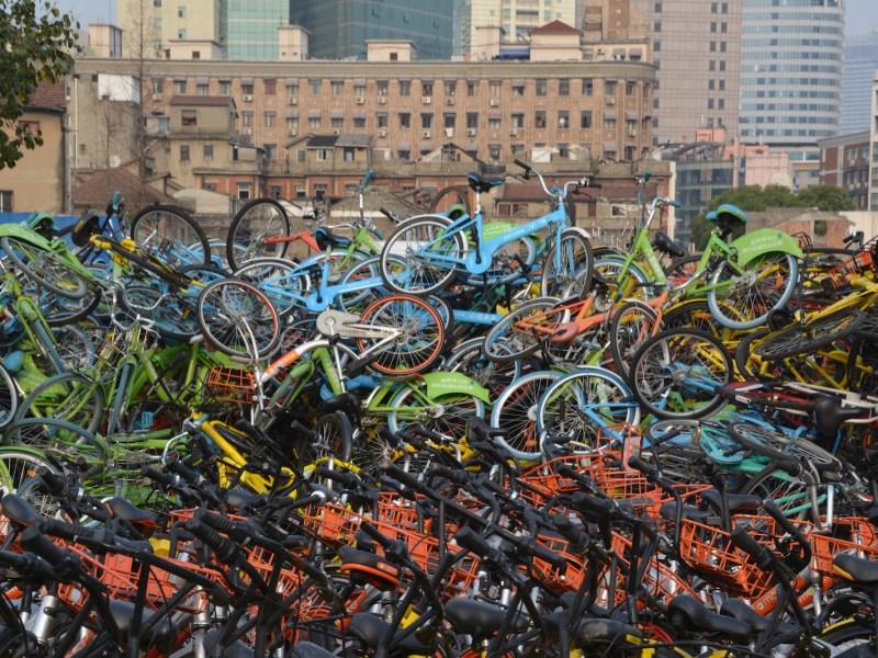 Thousands of broken bikes dumped in Shanghai. Photo: iStock