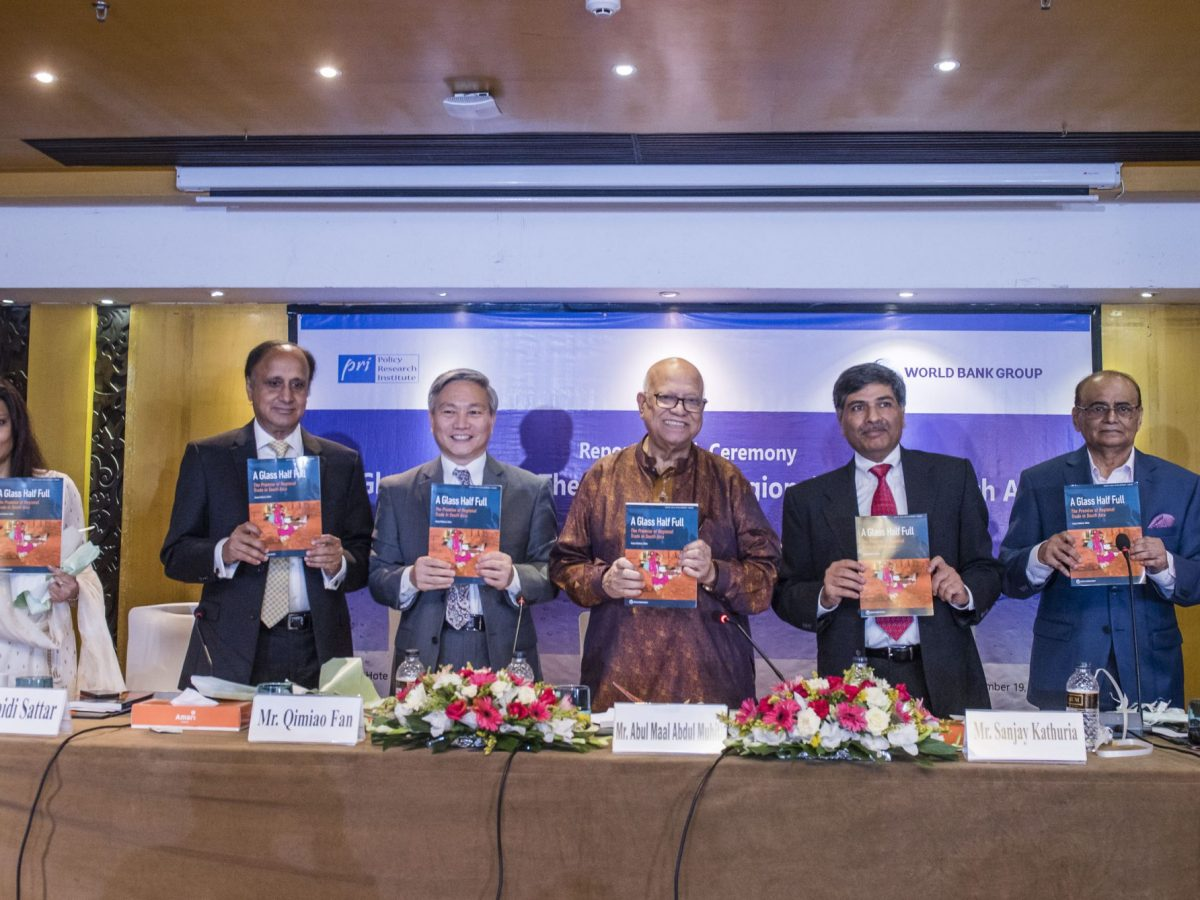 "Dignitaries at the launch of UN report ""A Glass Half Full: The Promise of Regional Trade in South Asia"" in Dhaka, Bangladesh."