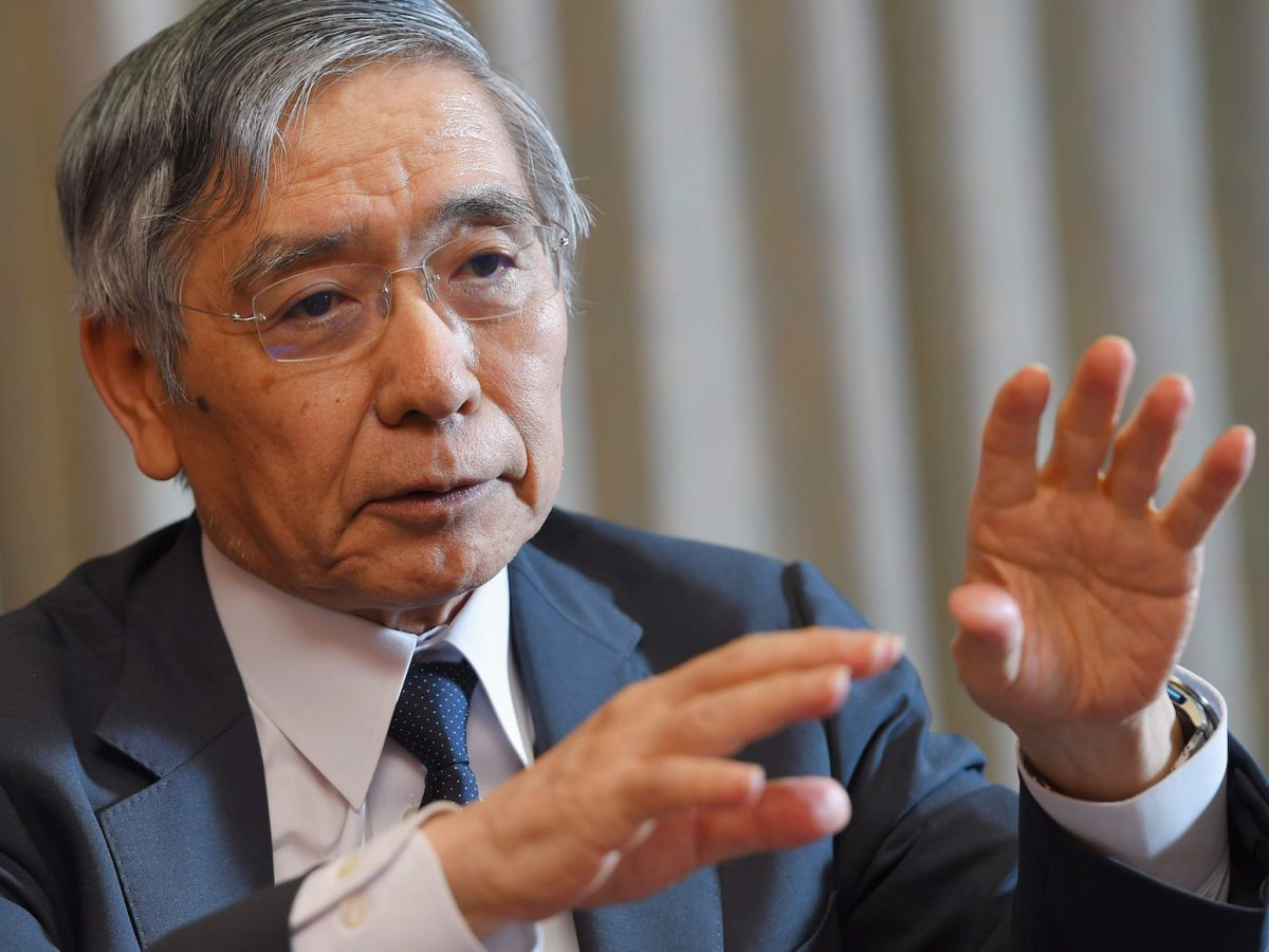 Bank of Japan Governor Haruhiko Kuroda speaks during an interview at BOJ head office in Tokyo. Photo: AFP/  Yomiuri Shimbun