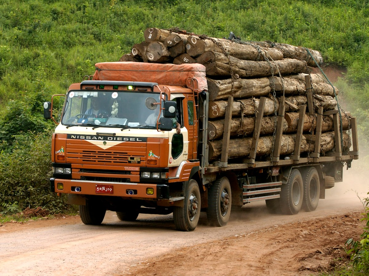 A truck transports logs near Kalaw in Shan State. Myanmar has one of the highest rates of forest depletion in the world. Photo: Aurimages/AFP.