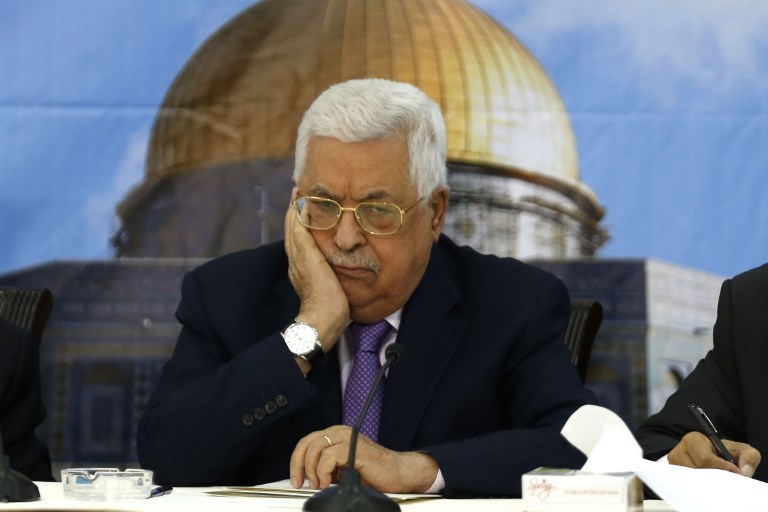 Palestinian president Mahmoud Abbas speaks during a meeting with the Palestinian Central Council in the West Bank city of Ramallah on August 15, 2018. Photo: AFP / Abbas Momani