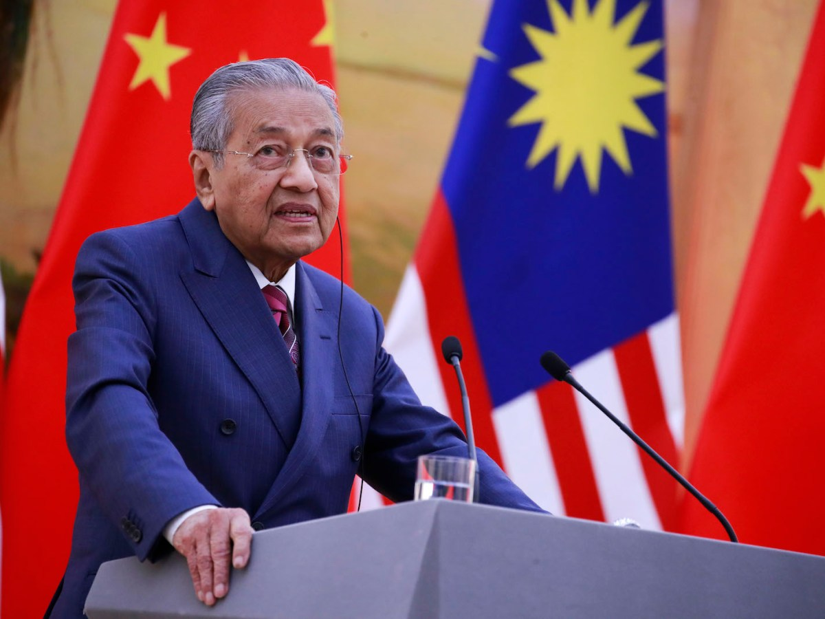 Malaysia's Prime Minister Mahathir Mohamad speaks during a press conference at the Great Hall of the People in Beijing on August 20, 2018. Photo: AFP/How Hwee Young