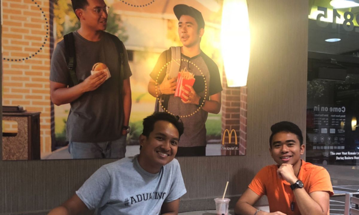 Filipino-Americans Jevh Maravilla and Christian Toledo put up a fake poster of themselves in a McDonald's restaurant that went unnoticed for two months. Photo: Twitter @Jevholution