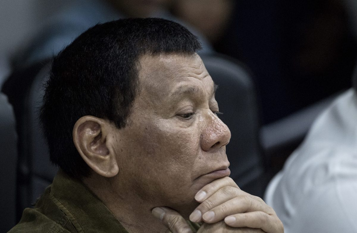 Philippine President Rodrigo Duterte after being briefed on Typhoon Mangkhut's damage causedto the Philippines, September 18, 2018. Photo: AFP/Noel Celis