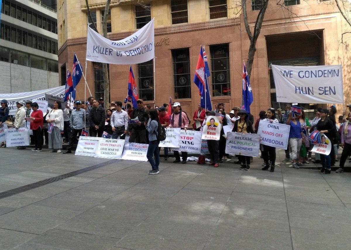Cambodian-Australians demonstrate in Sydney on September 15, 2018. Photo: Sawathey Ek