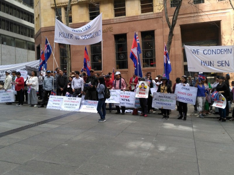 Cambodian-Australians demonstrate in Sydney on September 15, 2018. Photo: Sawathey Ek
