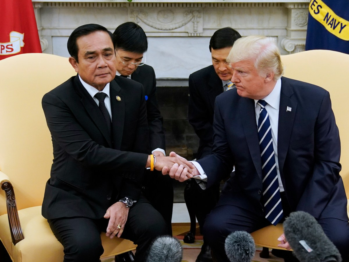 US President Donald Trump and Thailand's Prime Minister Prayut Chan-o-cha shake hands during a meeting in the Oval Office of the White House on October 2, 2017. Photo: AFP/Mandel Ngan