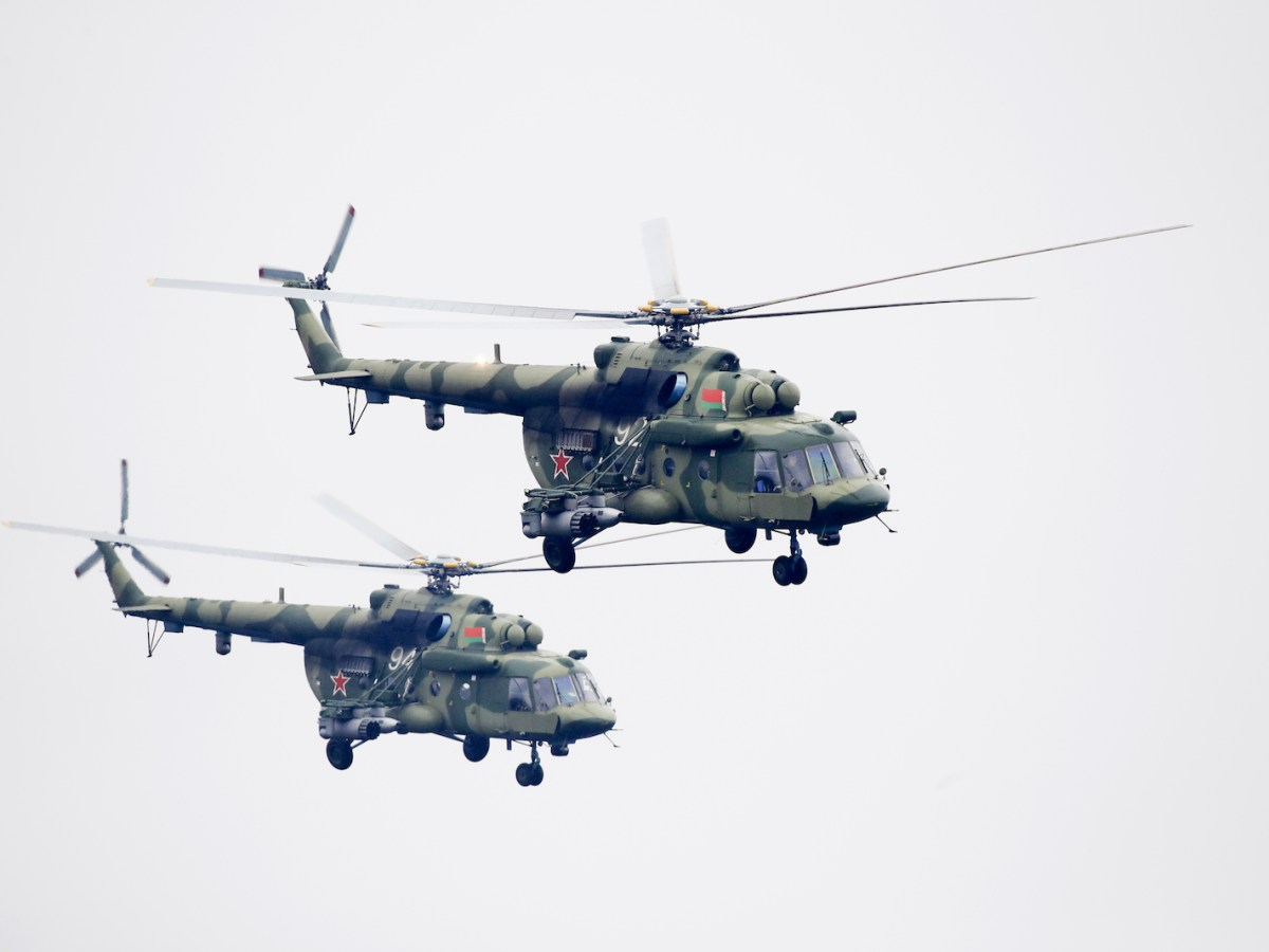 Helicopters take part in war games between Russia and Belarus near the town of Ruzhany, 235km southwest of Minsk in Sept 2017. A huge war drill will be stage in Russia's Far East next week. Photo: AFP / pool / Sergei Grits