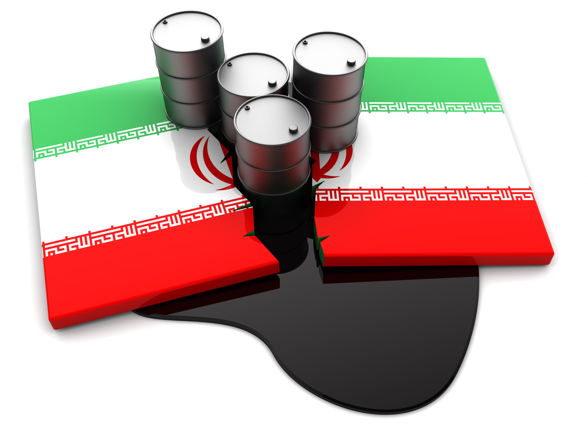 abstract 3d illustration of cracked Iran flag and oil barrels. Image; iStock