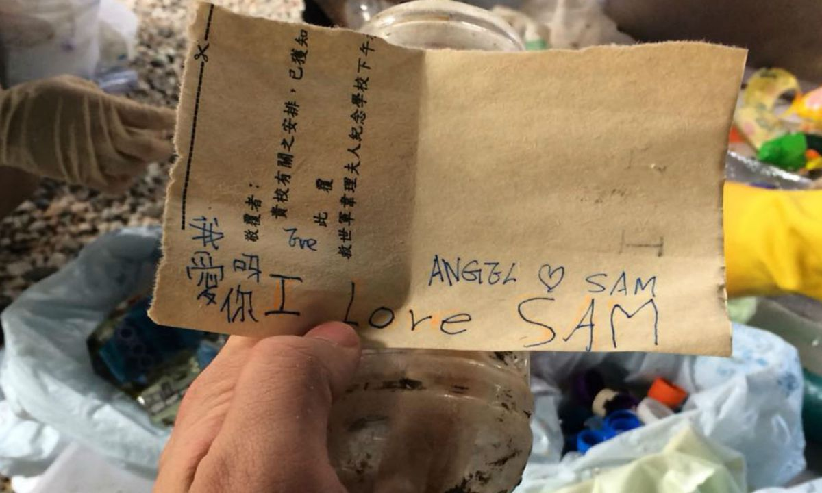 The message found in a bottle after Typhoon Mangkhut. Photo: Facebook/Benny Mok