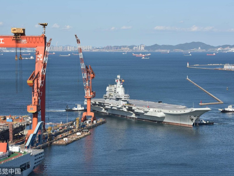 An aerial view of the new carrier as it is towed to its berth at the Dalian Shipyard, after its second sea trial last month. Photo: Weibo via VCG
