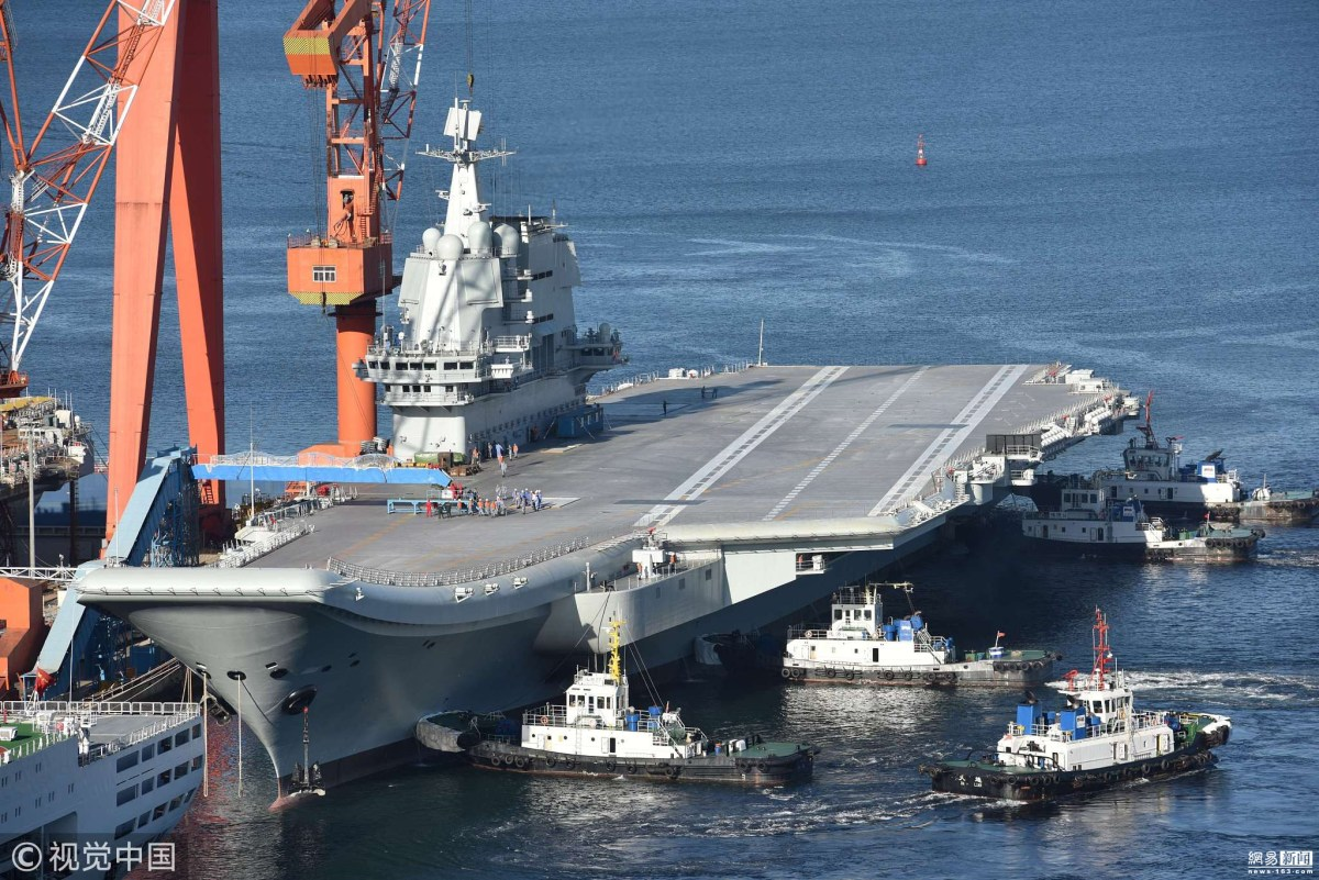 China's homemade carrier, known as Type 001A, at the Dalian Shipyard after it returned from its second sea trial. Photo: Weibo via VCG