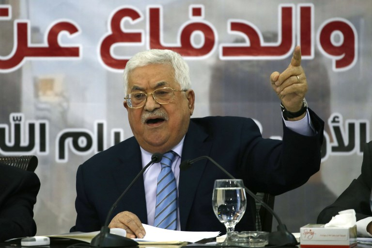 Palestinian president Mahmoud Abbas addresses the Palestinian Central Council in the West Bank city of Ramallah on October 28. Photo: AFP