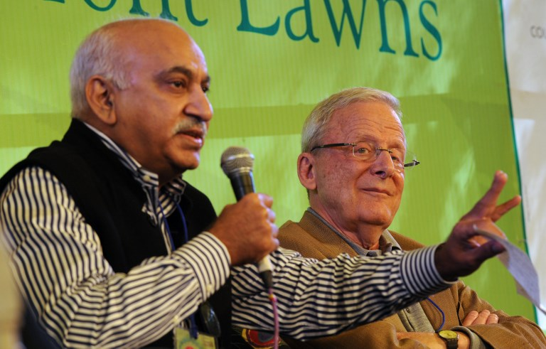 Former Indian journalist and Union Minister M. J. Akbar (L) has been accused of sexual harassment by at least 16 women. Photo: AFP / Prakash SINGH