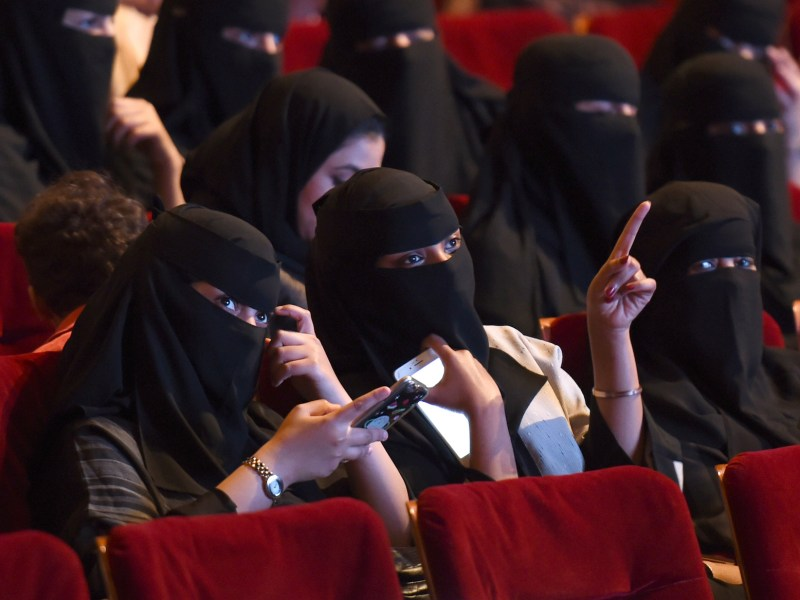 Saudi women at a cinema after the lifting of a decades-old ban. Photo: AFP/Fayez Nureldine