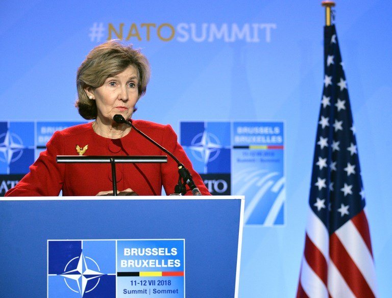 US permanent representative to NATO Kay Bailey Hutchison. Photo: Sputnik via AFP