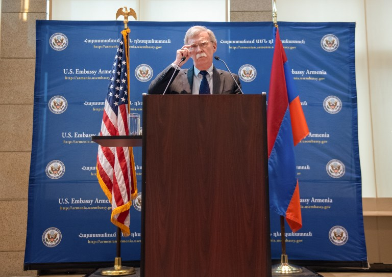 National Security Adviser John Bolton speaks to the media during a news conference at the US Embassy in Yerevan, Armenia, October 25, 2018.  Asatur Yesayants / Sputnik