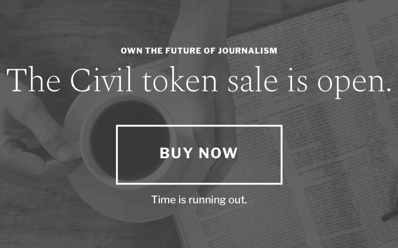 The Civil Media Company's plans, to raise $8 million through the sales of its crypto-currency CVL, have been postponed. Photo: civil.co