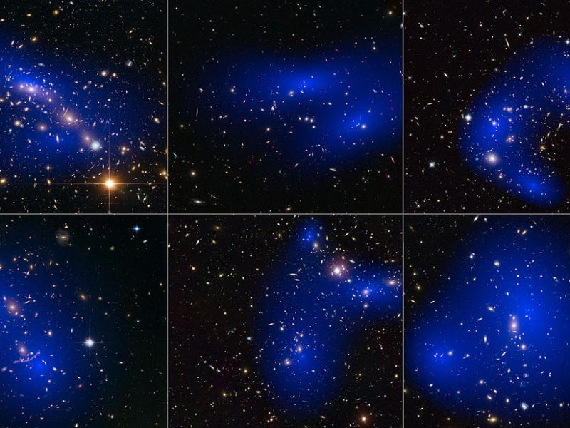 Collage of six cluster collisions with dark matter maps. The clusters were observed in a study of how dark matter in clusters of galaxies behaves when the clusters collide. Photo: WikiMedia