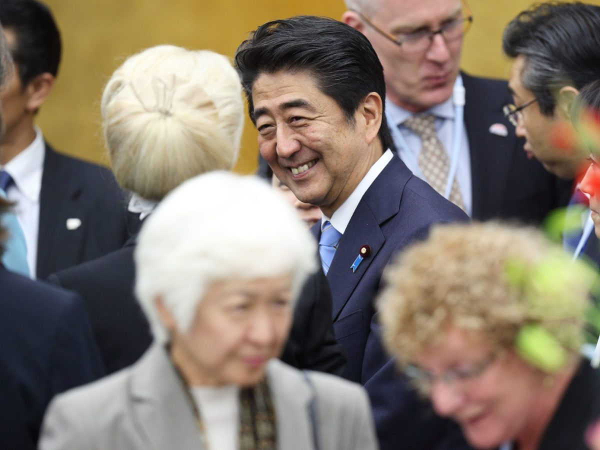 Shinzo Abe during a reception for the World Assembly for Women in Tokyo symposium on September 12, 2014. Photo: AFP/Tomohiro Ohsumi