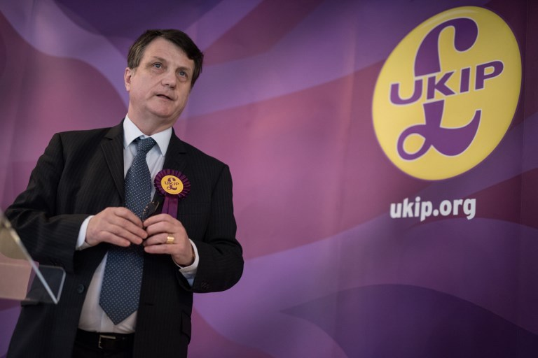 UK Independence Party Brexit spokesman and member of the European Parliament for London, Gerard Batten, addresses members of the media at the party's by-election campaign headquarters in Stoke-on-Trent, central England, on February 13, 2017. Photo: AFP / Oli Scarff