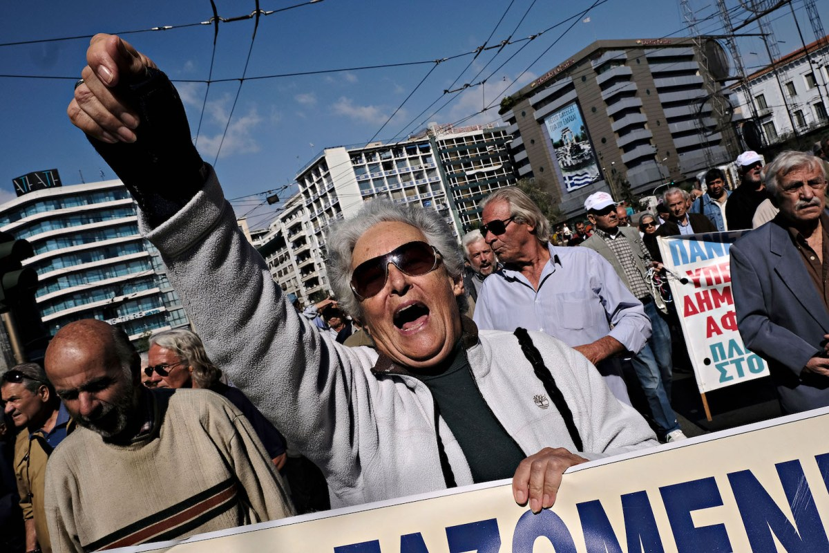 Pensioners take part in a demonstration to protest pension cuts and new government measures in Athens, Greece on Oct. 3, 2017. Photo: AFP Forum