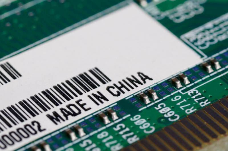 "A motherboard carrying a ""made in China"" label. Photo: Xinhua"