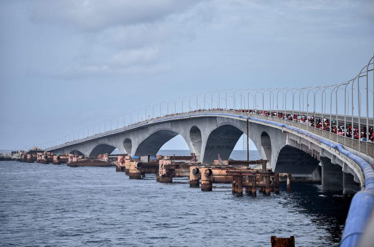 The Sinamale Bridge, formerly known as the China-Maldives Friendship Bridge, was built with funding from China in the Maldives capital Male. But former president Abdulla Yameen was beaten in an election last month that was a fight for influence between India and China. Photo: AFP