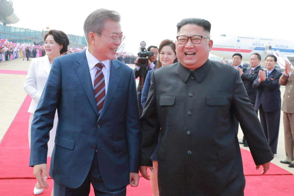 US President Donald Trump has said that that any agreement between South Korean President Moon Jae-in. left, and  North Korean leader Kim Jong Un, needs US approval. Photo: AFP/KCNA via KNS