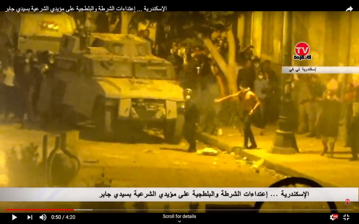 مركبات شيربا LSW المدرعة المنتشرة في حي سيدي جابر (الإسكندرية) من قبل قوات وزارة الداخلية (الصورة من فيديو يوتيوب ، 5 يوليو 2013)