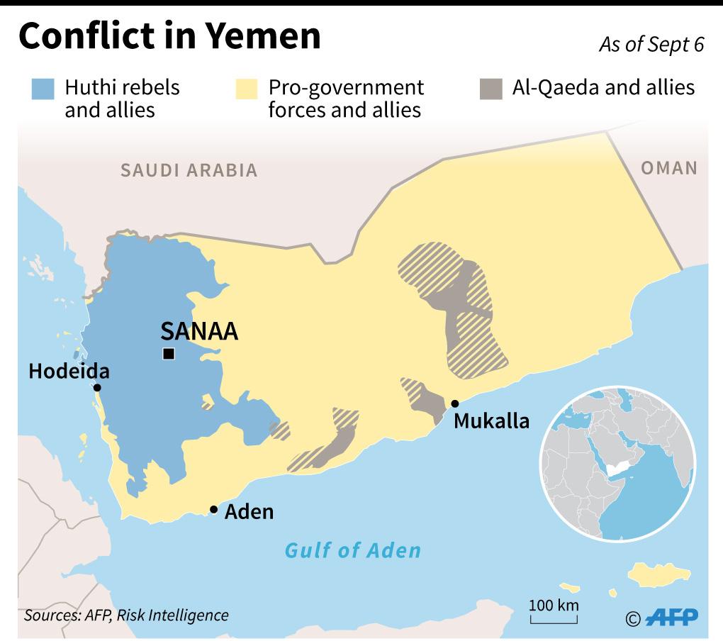 خريطة لليمن توضح مناطق نفوذ أطراف الصراع المختلفة