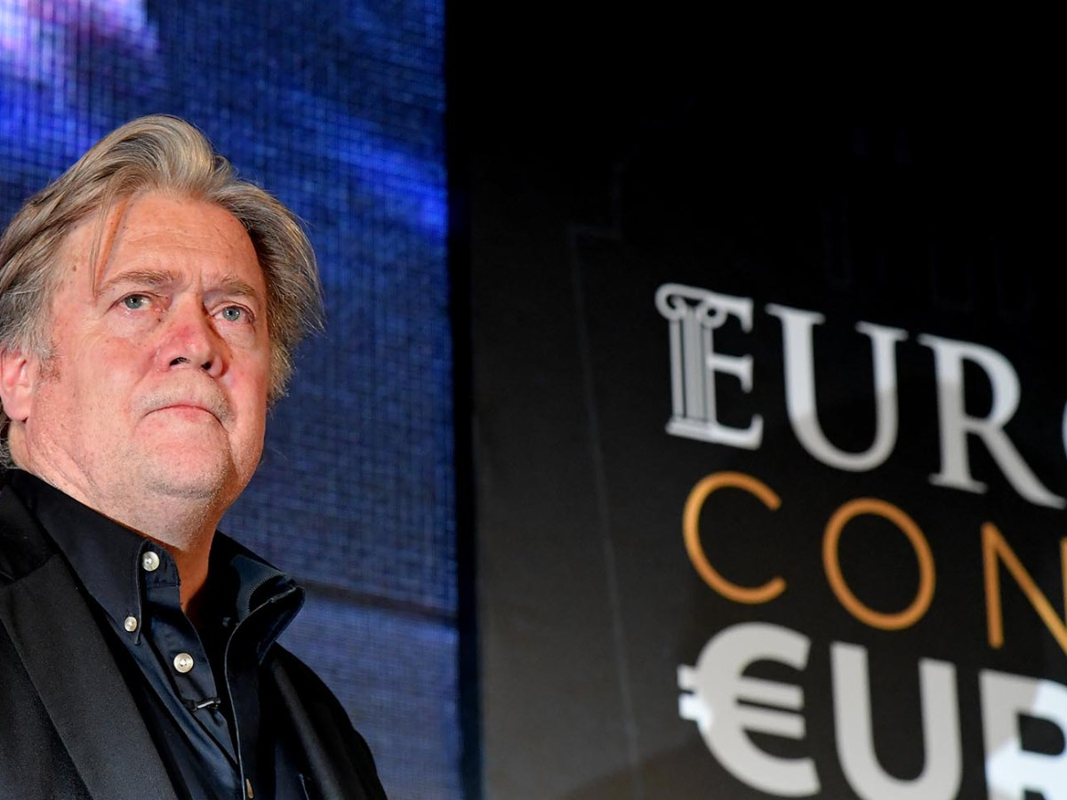 Former White House Chief Strategist Steve Bannon attends a congress of the far right party 'Fratelli d'Italia' in Rome on September 22, 2018. Photo: AFP/Tiziana Fabi