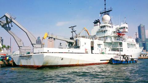 US research vessel Thomas G Thompson is pictured at the Port of Kaohsiung on Wednesday. Photo: Central News Agency