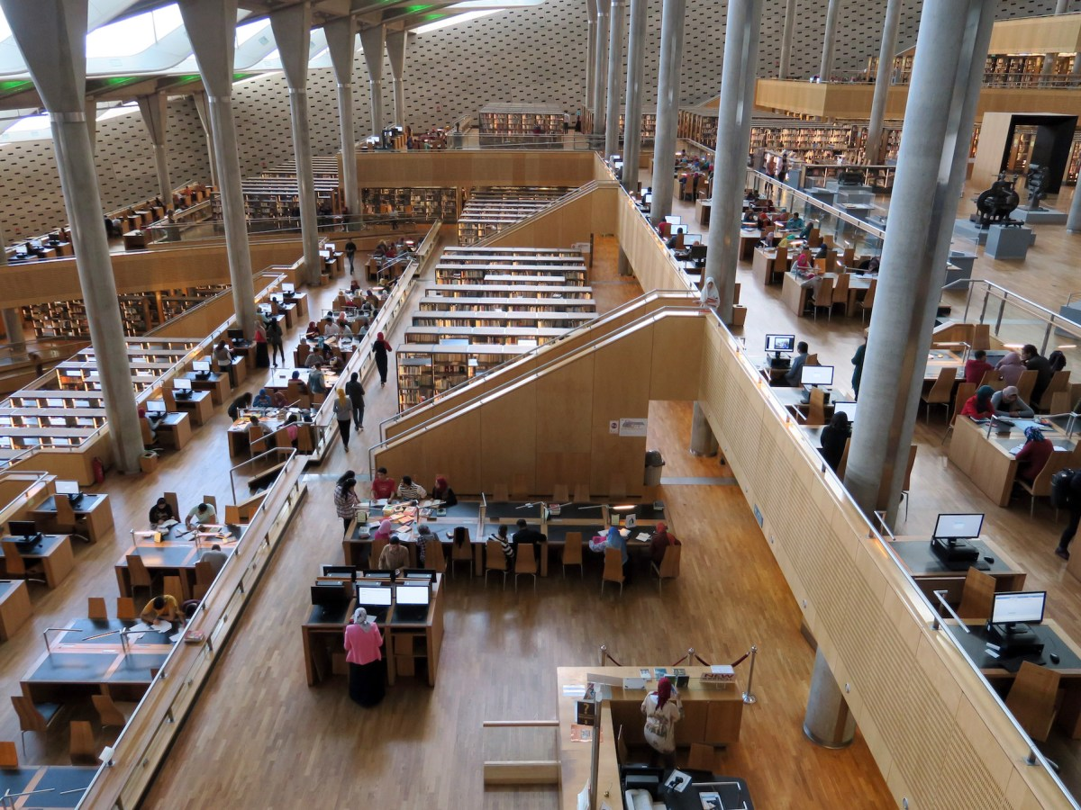Caption: Visitors work in the Bibliotheque Alexandria on 7 April 2017. Completed in 2002, the public library features 2,000 seats and 350 computers. Photo: Soeren Stache/ DPA