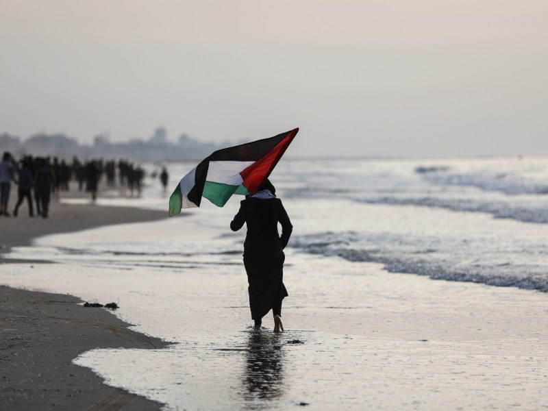 A woman carries a Palestinian flag during a demonstration drawing attention to Israel's maritime blockade of Gaza on November 26. Photo:  Ali Jadallah / Anadolu Agency