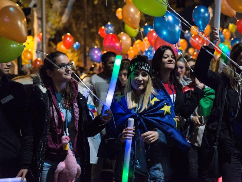 آلاف من الطلبة الأجانب الذين يدرسون في إيطاليا عبر برنامج إيراسموس  يجتمعون في ملتقى إيراسموس الثقافي ٢٠١٧   صورة: Andrea Ronchini / NurPhoto