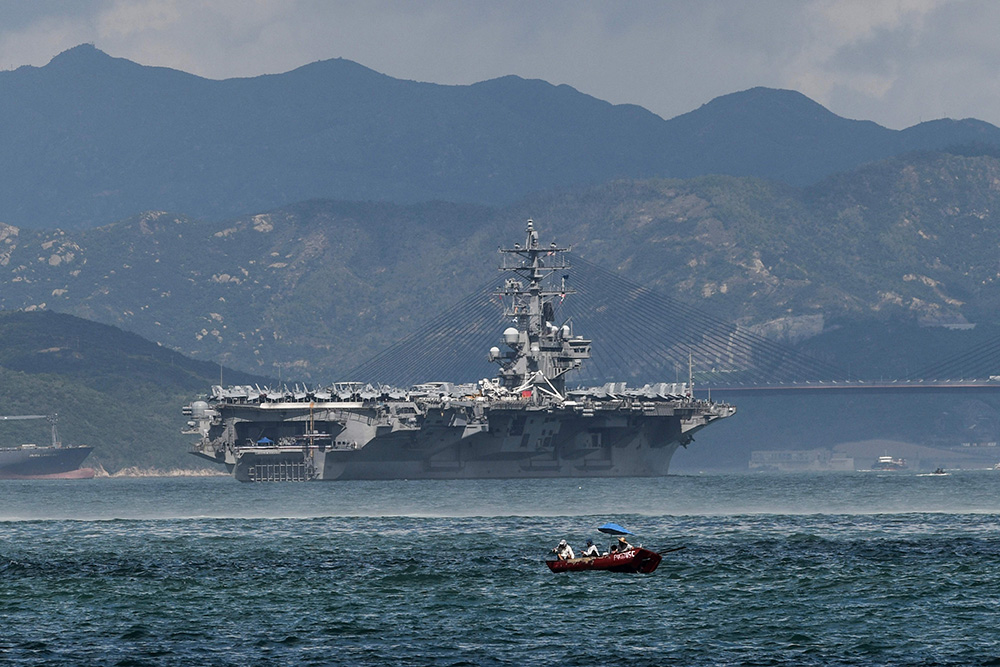 A file photo shows the US Navy's Ronald Reagan, a Nimitz-class nuclear-powered supercarrier, sailing in Hong Kong waters.  Photo: AFP