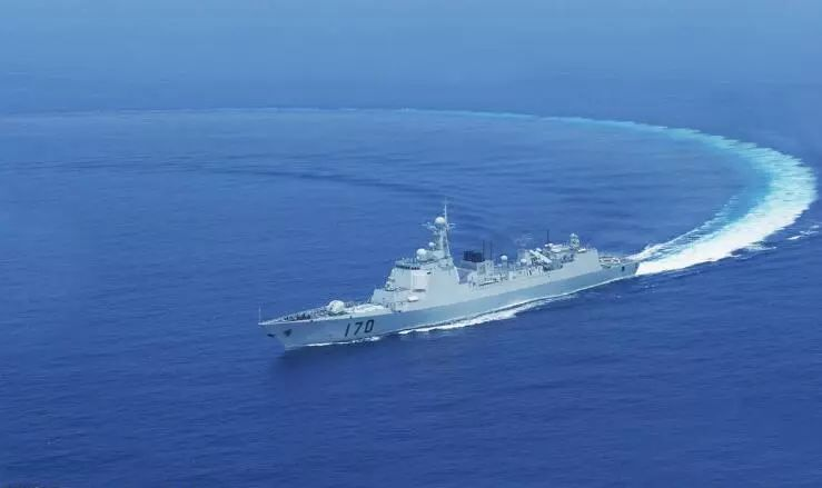 The Chinese destroyer  Lanzhou patrolling in the South China Sea. Photo: PLA Daily