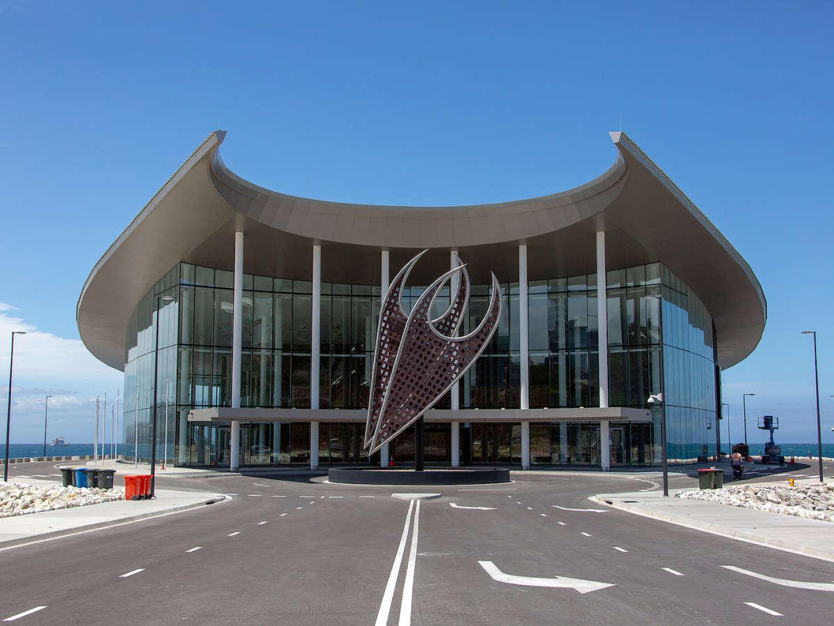 The conference center for the upcoming Asia-Pacific Economic Cooperation (APEC) summit in Port Moresby. Construction is said to have cost 120 million kina, around US$37 million. Photo: AFP/ Vanessa Kerton