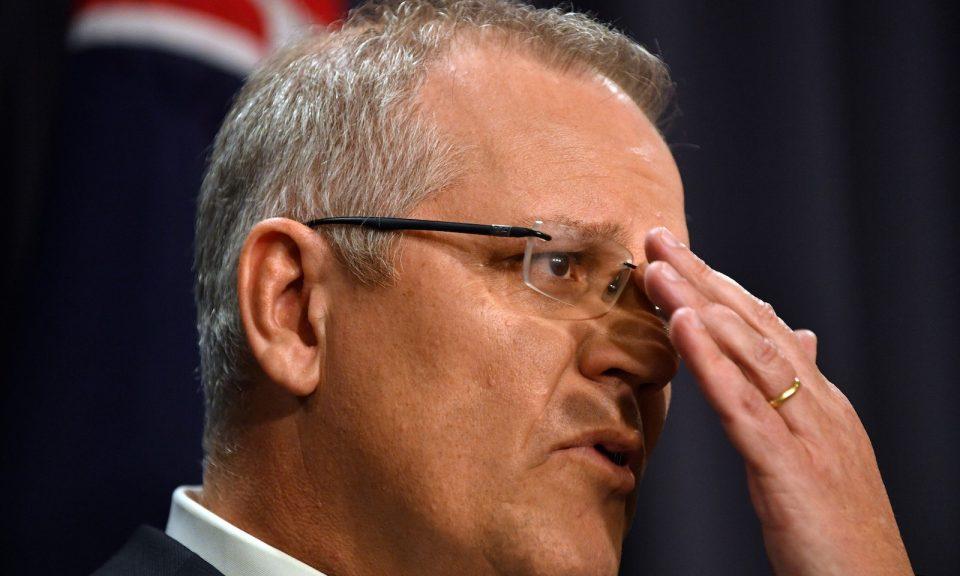 澳洲新上任總理莫里森於2018年8月24日在堪培拉舉行的新聞發佈會上發表講話。相片:AFP / Saeed Khan