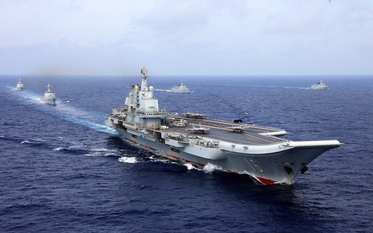 Two J-15 fighter jets of the PLA Navy prepare to take off from China's aircraft carrier, The Liaoning,  during an exercise. Photo: AFP