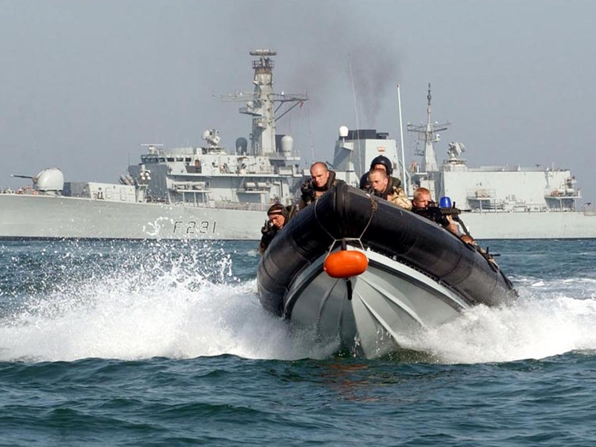 A Royal Marine boarding team is seen in front of the HMS Argyll, which has been involved in freedom of navigation exercises in the South China Sea plus naval exercises with allies such as the US, Australia and Japan, who share its concerns about Beijing claiming the South China Sea as its territorial waters. Photo: AFP / Ministry of Defence