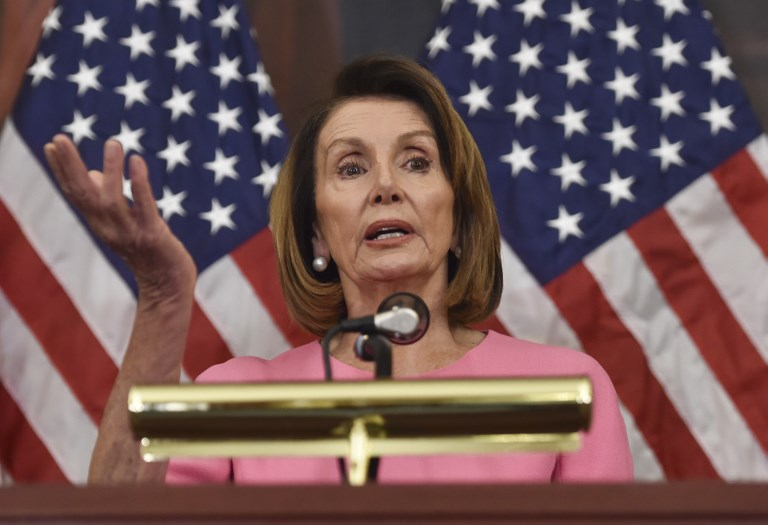 US House Minority Leader Nancy Pelosi speaks during a press conference after Democrats took back control of the House of Representatives in Washington, DC, on November 7, 2018. Photo: AFP / Nicholas Kamm