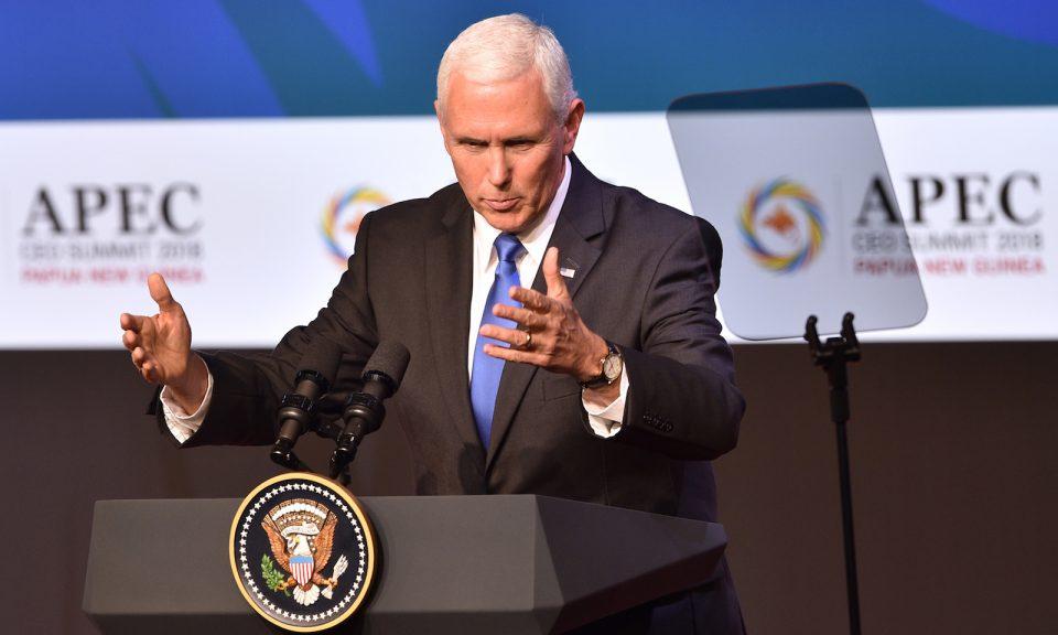 美國副總統彭斯在2018年11月17日於莫爾茲比港(Port Moresby)舉行的APEC峰會上發表主題演講。相片:AFP / Peter Parks