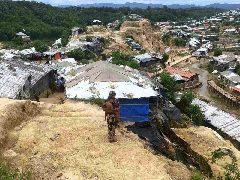 A site of landslide at a camp for Rohingya in Cox's Bazar, Bangladesh, on August 15, 2018. The exodus from Myanmar is continuing despite efforts to repatriate some. Photo: AFP/The Yomiuri Shimbun