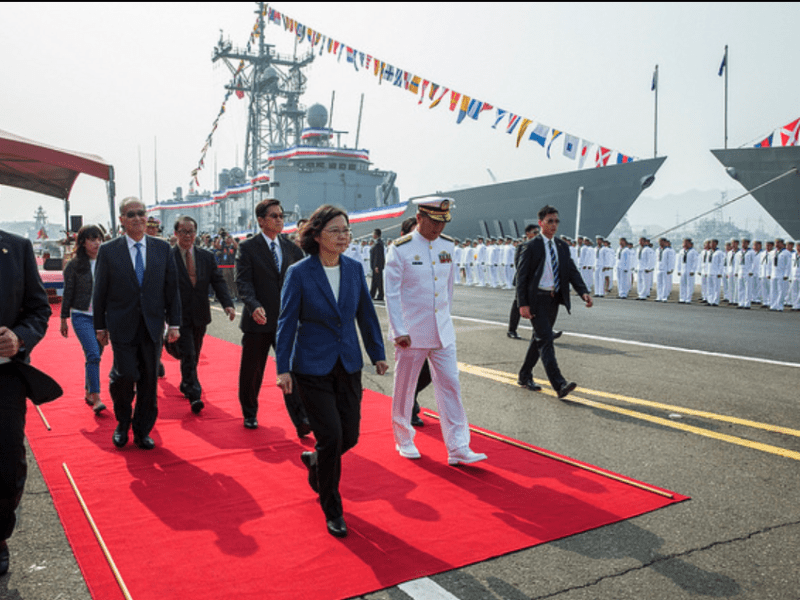 Taiwanese President Tsai Ing-wen is seen during the launch ceremony for two second-hand frigates bought from the US. Photo: Handout
