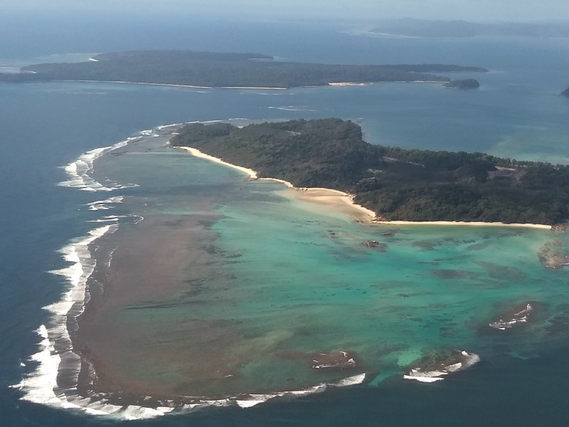 An aerial photo of the Andaman Island chain, a remote Indian archipelago in the Bay of Bengal, where American John Chau was killed last week. Photo: Hari Kumar / AFP