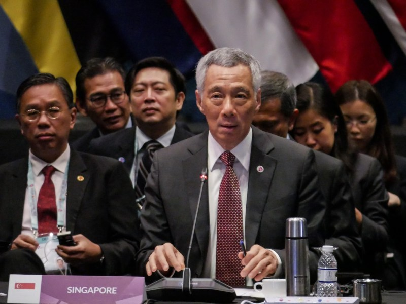 Prime Minister of Singapore Lee Hsien Loong makes a speech during the 6th Asean-US Summit in Singapore on November 15, 2018. Photo: AFP via Anadolu Agency/Anton Raharjo